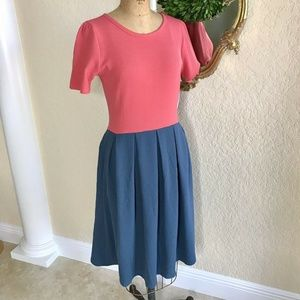 NWT LuLaRoe Amelia Dress Coral I Blue Colorblock